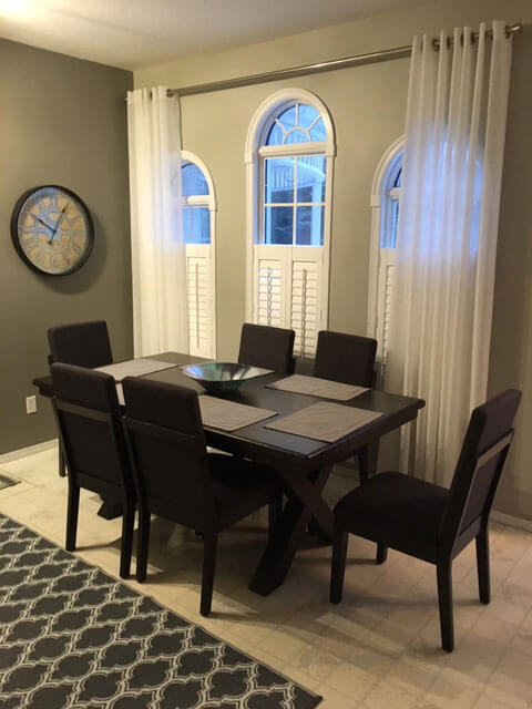 Dinning room drapes and blinds