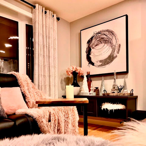 beige living room drapes